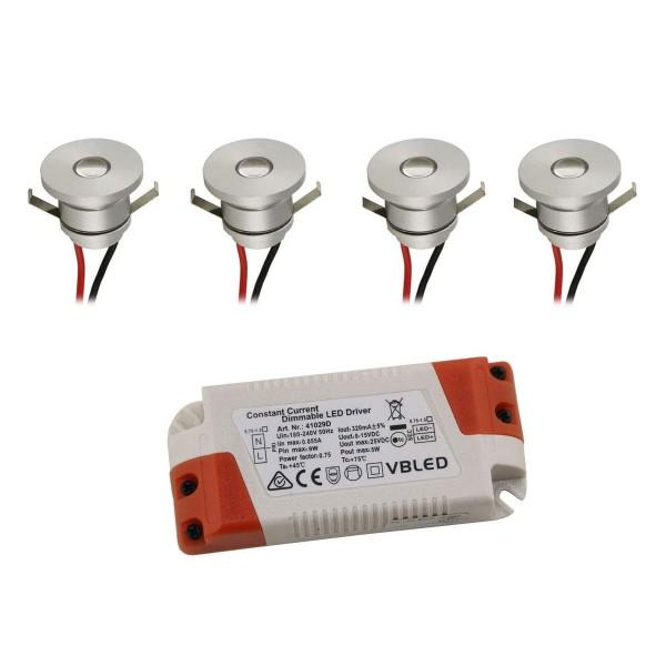 4er-Set LED Aluminium Mini Einbaustrahler 3000K mit dimmbar LED Trafo - Silber