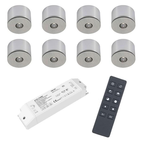 8er Set 3W LED Mini Spot Aufbaustrahler warmweiß dimmbar mit Funk Netzteil und Fernbedienung