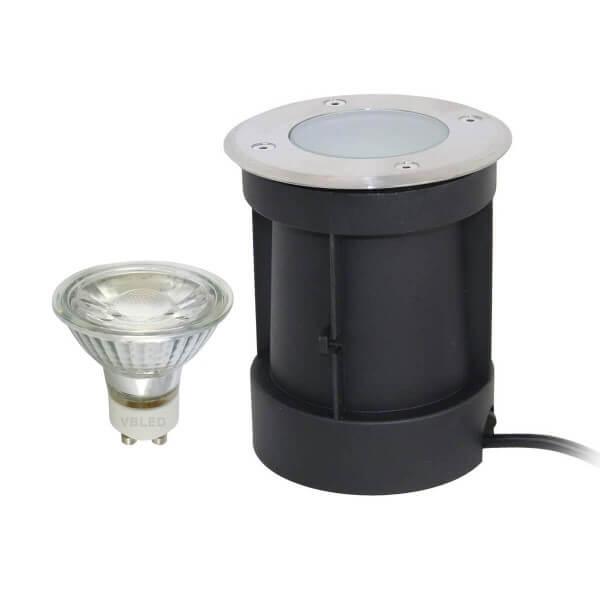 LED Bodeneinbaustrahler mit schwenkbarer Fassung mit 5.5W LED Leuchtmittel