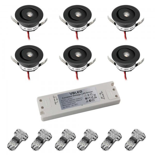"""6er-Set 3W LED Mini Einbauspot - """"OCULOS"""" Minispot 3000K mit Netzteil Schwarz"""