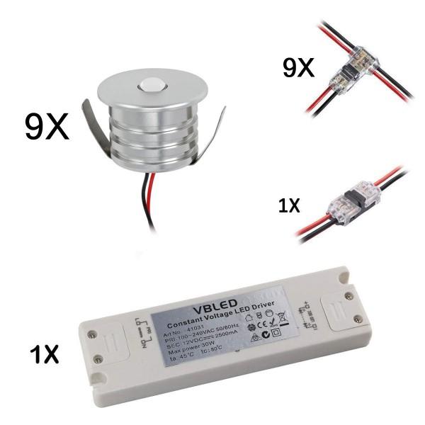 9er Set 3W Mini-Einbauspot Einbaustrahler warmweiß 3000K IP44 12V DC Inkl.LED Trafo und Verbinder