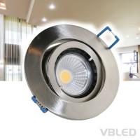 Einbaustrahler Aluminium gebürstet schwenkbar flach rund mit 3,5W COB 230V  WW Leuchtmittel