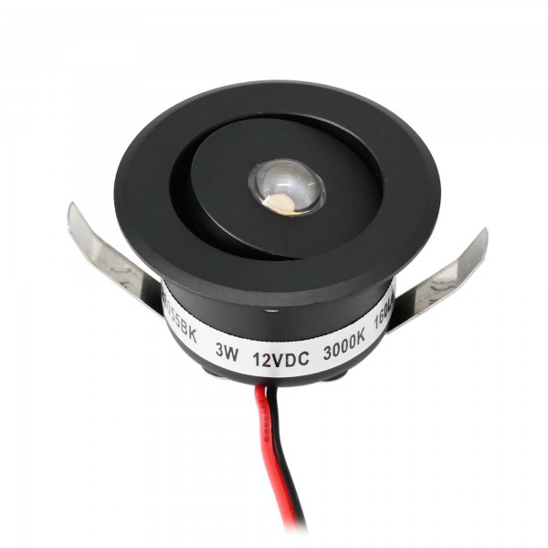 "3W LED Mini Einbauspot - ""OCULOS"" Minispot - 12V DC - IP44 - 3000K - Schwenkbar - Schwarz"