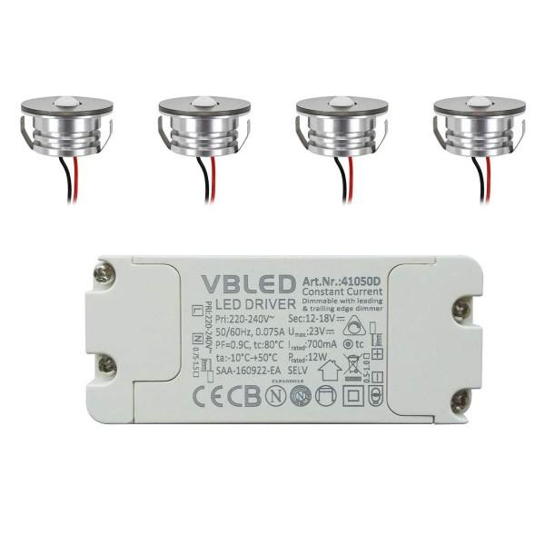 4er Set 3W LED Aluminium Mini Einbaustrahler Spot warmweiß mit dimmbarem Netzteil