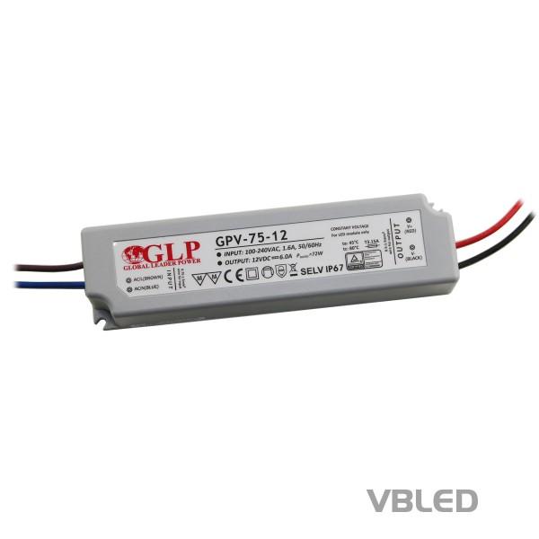 LED Netzteil Konstantspannung / 12V DC / 72W
