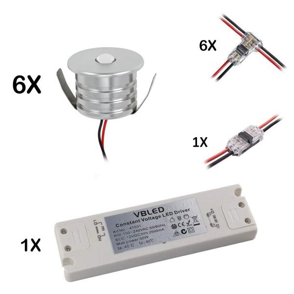 6er Set 3W Mini-Einbauspot warmweiß 12V DC Warmweiss Inkl.LED Trafo und Verbinder