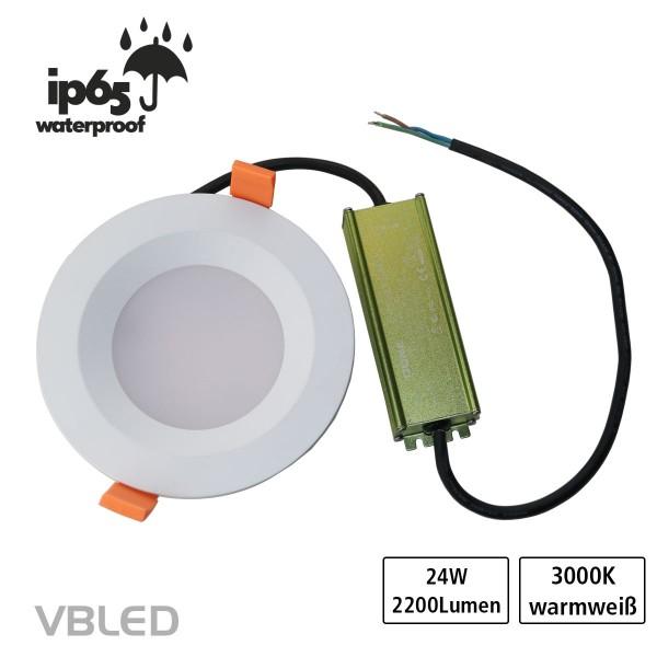 LED Einbauleuchte 24W 230V IP65 + Netzteil Wasserdicht