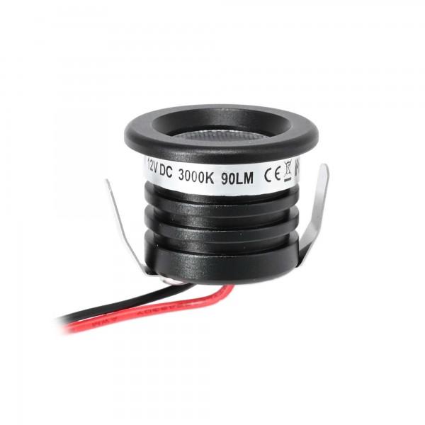 "1W Min LED Einbauspot ""Visum"" schwarz 12VDC IP65 3000K"