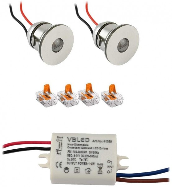 2er-Set 1W Mini LED Einbauspot Einbaustrahler mit Netzteil
