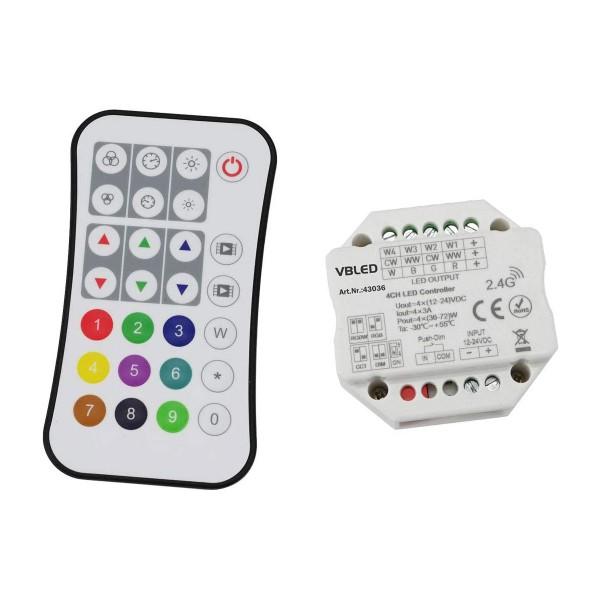 """INATUS"" SET - Funk Dimmer Controller für RGB, oder RGB+W LED Streifen 12-24V DC"