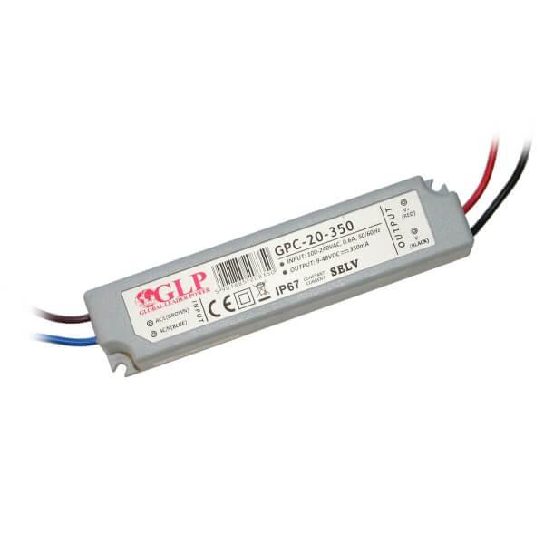 Konstantstrom-Netzteil 350 mA, 9-48V DC, 16,8 Watt, IP67 (geeignet für 3-16 Mini Spots)