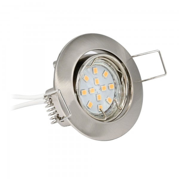LED Einbaustrahler Set inkl. Leuchtmittel 2W, WW, 12V DC, G4, Schnellverschluss, Alu, schwenkbar