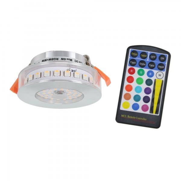 6W RGB+WW 12V DC LED Einbauleuchten inkl. Fernbedienung
