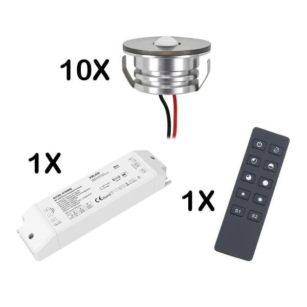 10er Set 3W LED Mini Spot Einbaustrahler warmweiß dimmbar mit Funk Netzteil und Fernbedienung