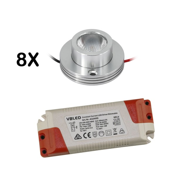 """8er KIT - 1W LED Aufbaustrahler """"CYLINDRO"""" Deckenspot 3V 3000K"""