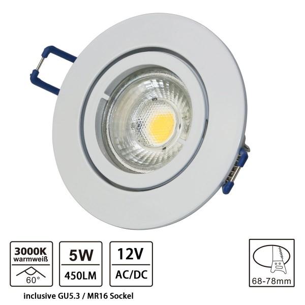 LED Einbaustrahler aus Aluminium / Weiß / rund / 5W LED / GU5.3/ MR16