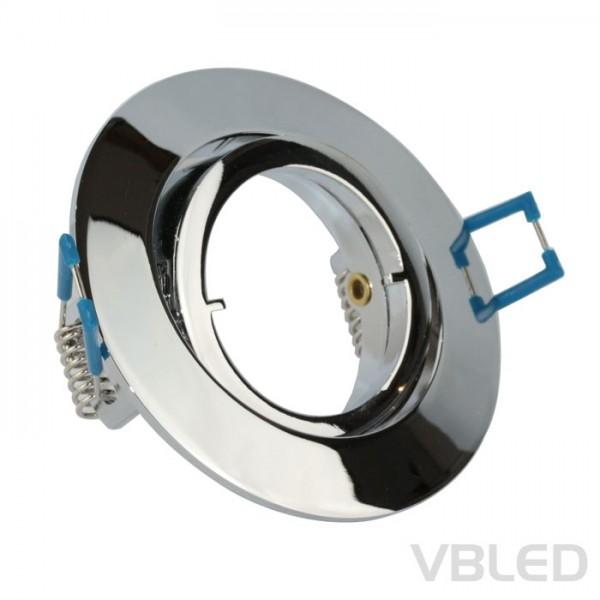 VBLED LED Einbaurahmen aus Aluminium - chrom Optik - rund - glänzend - schwenkbar