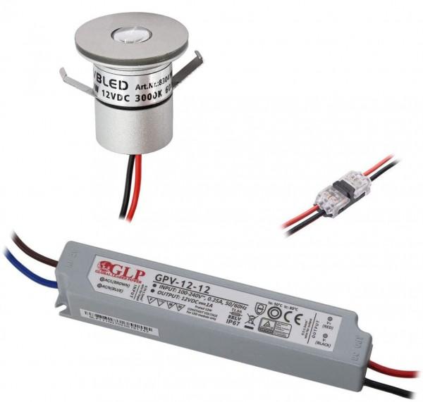 1er Set 1W Mini-Einbauspot Inkl. LED Trafo IP67 wasserdicht 12V DC