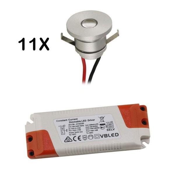 11er Set 1W LED Aluminium Mini Einbaustrahler warmweiß mit dimmbaren Netzteil