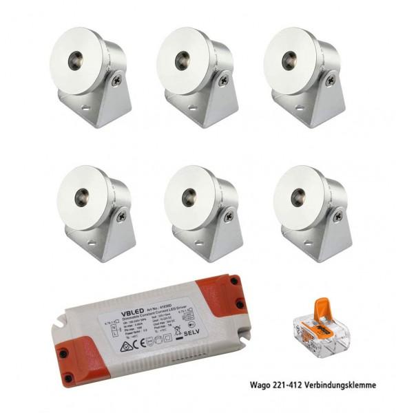 6er-Set 1W Mini Aufbaustrahler - Dreh- & Schwenkbar - 80lm warmweiß mit Netzteil