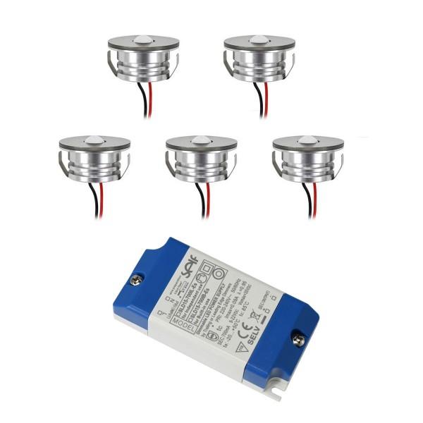 """5er SET - LED Alu Mini Spots """"Luxonix"""" / IP65 / 3W / 700mA / 160lm / WW (mit dimmbarem Netzteil)"""