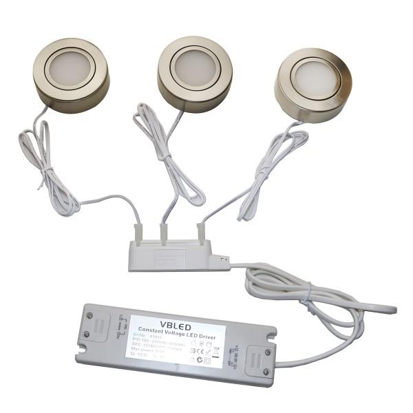 3er Set 4W LED Ein- und Aufbauleuchte schwenkbar IP20 12V 3000K warmweiß 175 Lumen