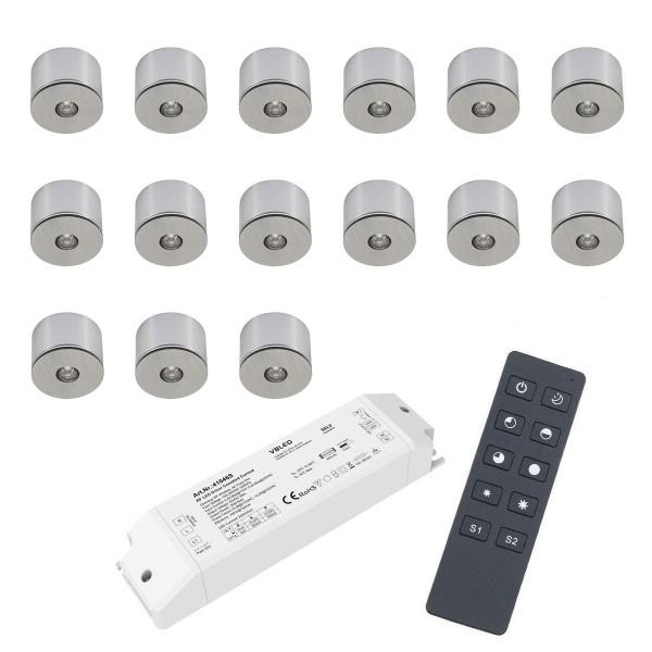 15er Set 3W LED Mini Spot Aufbaustrahler warmweiß dimmbar mit Funk Netzteil und Fernbedienung