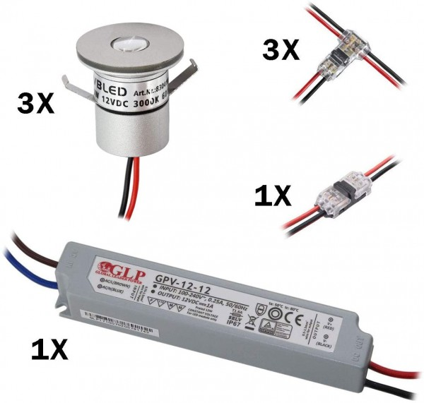 3er Set 1W Mini-Einbauspot Inkl. 12W LED Trafo IP67 wasserdicht 12V DC