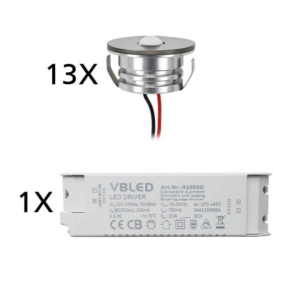 13er Set 3W LED Aluminium Mini Einbaustrahler Spot warmweiß mit dimmbarem Netzteil