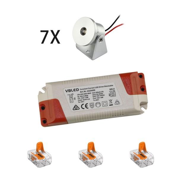 7er-Set 1W Mini Aufbaustrahler - Dreh- & Schwenkbar - 80lm warmweiß mit Netzteil