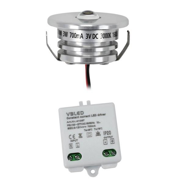 1er Set 3W LED Aluminium Mini Einbaustrahler Spot warmweiß mit Netzteil