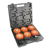 6 LED Warnleuchten Orange im Transport- und Ladekoffer