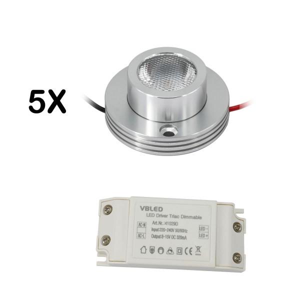 """5er KIT - 1W LED Aufbaustrahler """"CYLINDRO"""" Deckenspot 3V 3000K"""