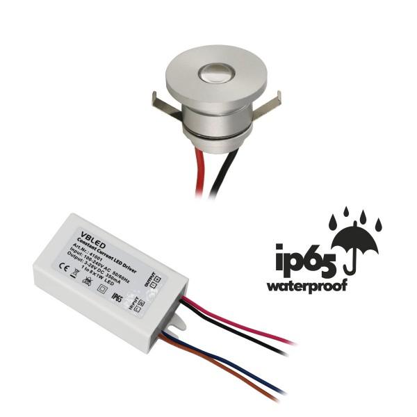 1er-Set LED Aluminium Mini Einbaustrahler 1W warmweiß mit Trafo IP65