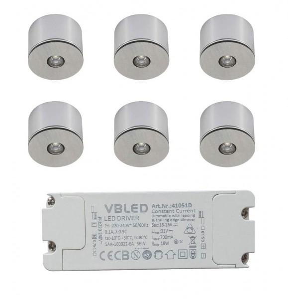 6er Set 3W LED Mini Spot/Decken-Aufbau-Spot / IP65 / WW / inkl. dimmbarer LED Netzteil