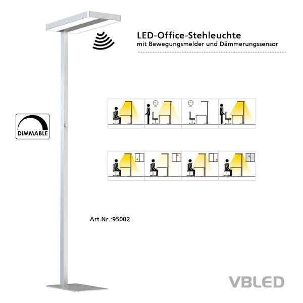 LED Büro-Stehleuchte 60W mit Drehdimmer, Bewegungssenor und Tageslichtsensor