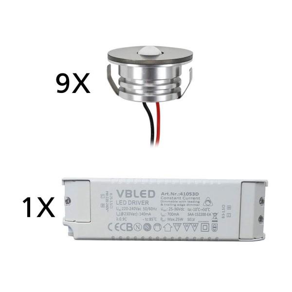 LED Aluminium Mini Einbaustrahler Spot IP65 9er Set mit dimmbarem Netzteil