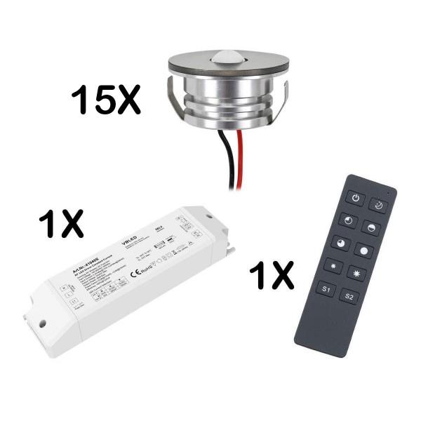 15er Set 3W LED Mini Spot Einbaustrahler warmweiß dimmbar mit Funk Netzteil und Fernbedienung