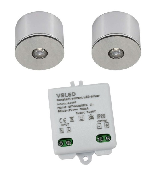 2er Set 3W LED Mini Spot/Decken-Aufbau-Spot / IP65 / WW / inkl. dimmbarer Netzteil