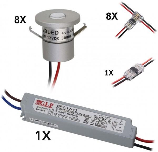 8-er Set 1W Mini-Einbauspot IP65 Warmweiss Inkl.12W LED Trafo 12V DC