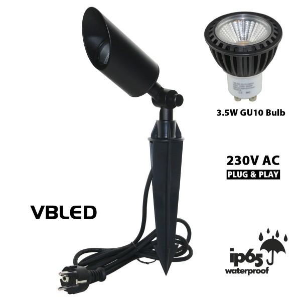 LED Gartenstrahler mit 3.5W GU10 LED Leuchtmittel Schwarz