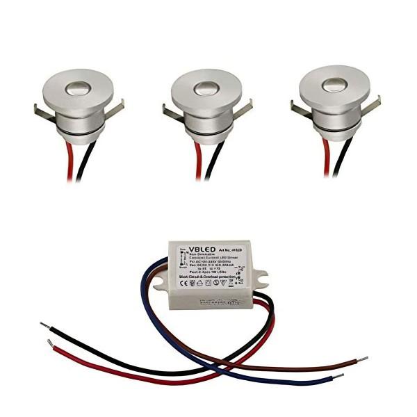 LED Aluminium Mini Einbaustrahler deckenleuchte 1W Spot 3er-Set