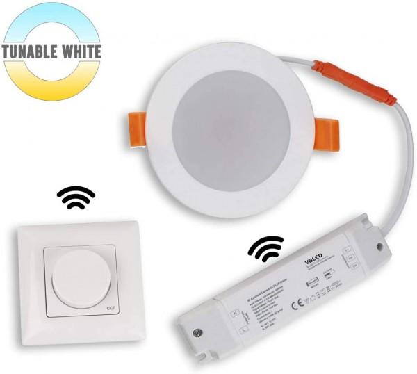 Tunable white LED Einbauleuchte LED 15W 3000-6500K Dimmbar mit RF-Wandfernbedienung