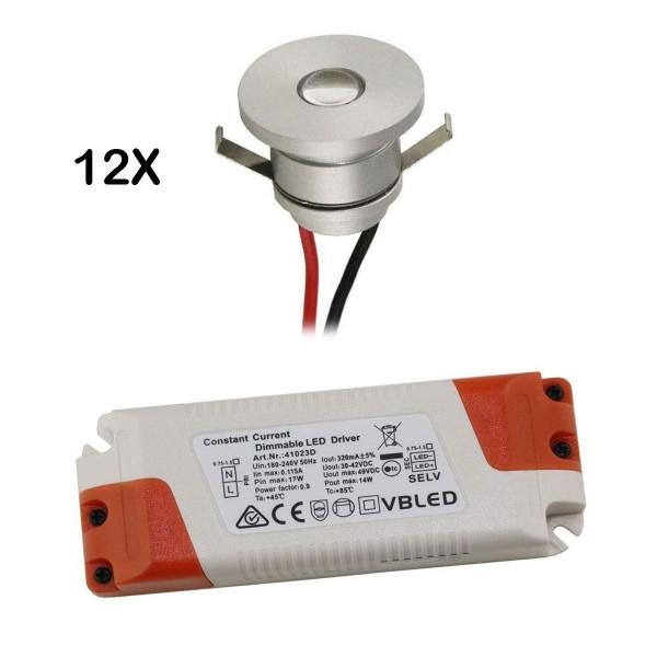 LED Aluminium Mini Einbaustrahler 12-er Set mit dimmbarem Netzteil