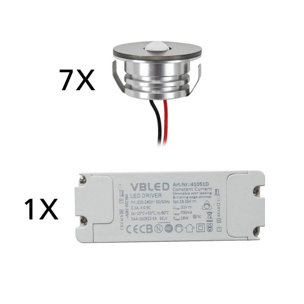 7er Set 3W LED Aluminium Mini Einbaustrahler Spot warmweiß mit dimmbarem Netzteil