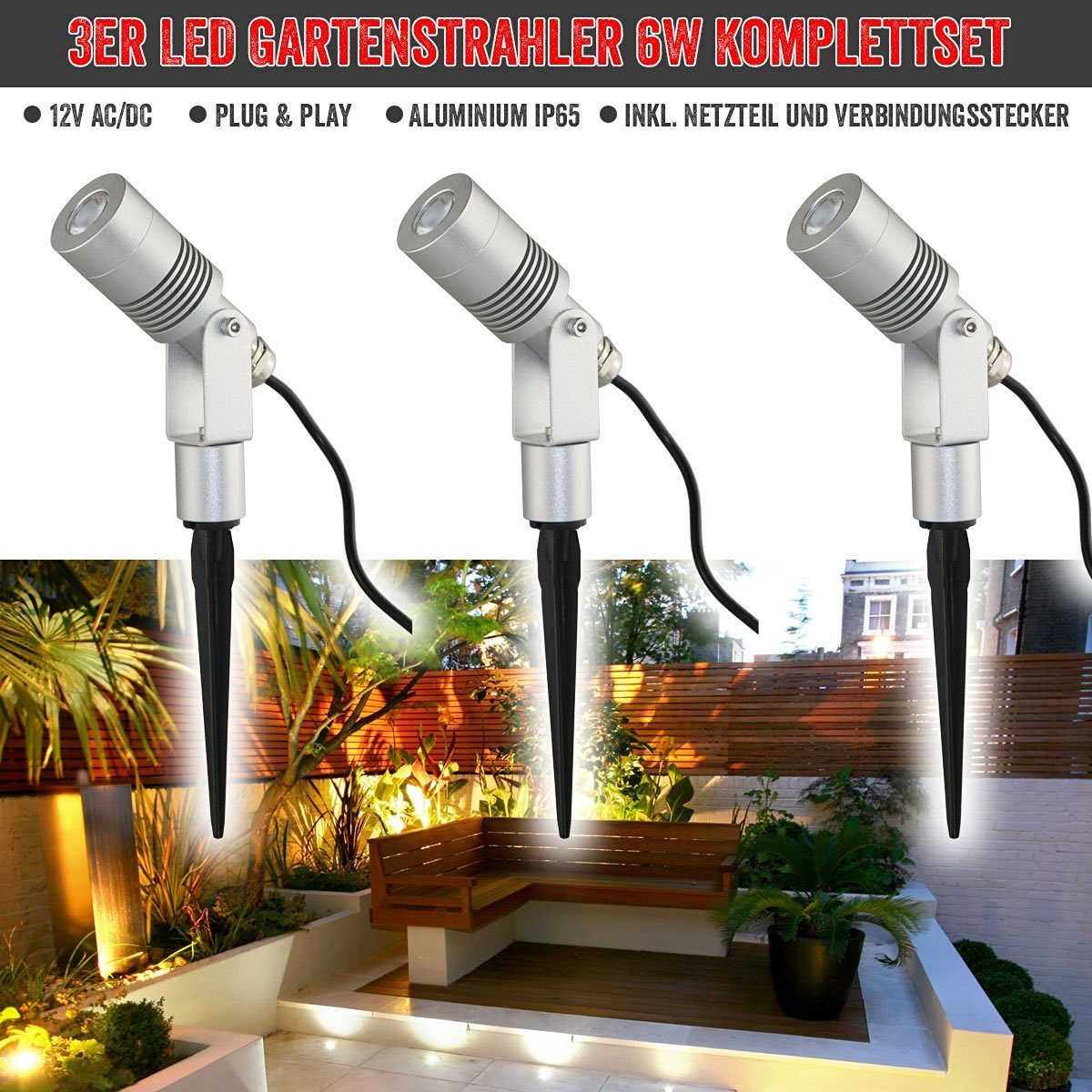led gartenstrahler 6w set silber 3000k 11102 kit si 3k gartenbeleuchtung vbled. Black Bedroom Furniture Sets. Home Design Ideas