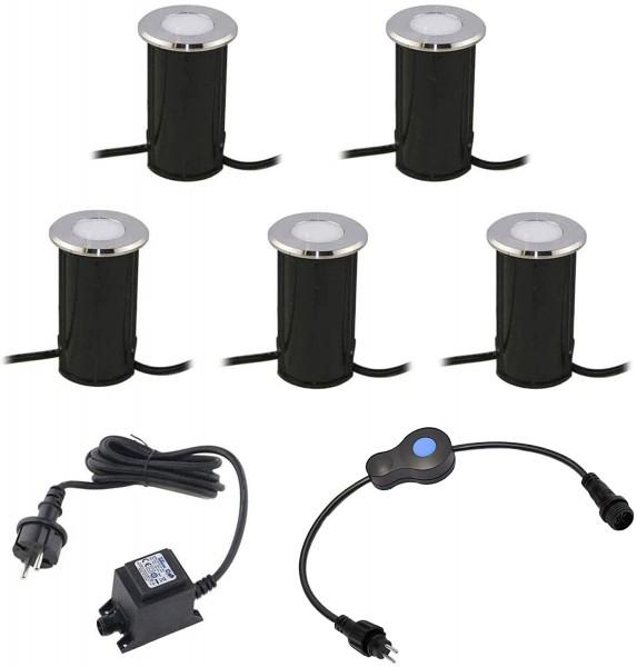 5er Set LED Bodeneinbauleuchte aus Edelstahl, Rund, 12V, 3000K 3-Stufendimmer