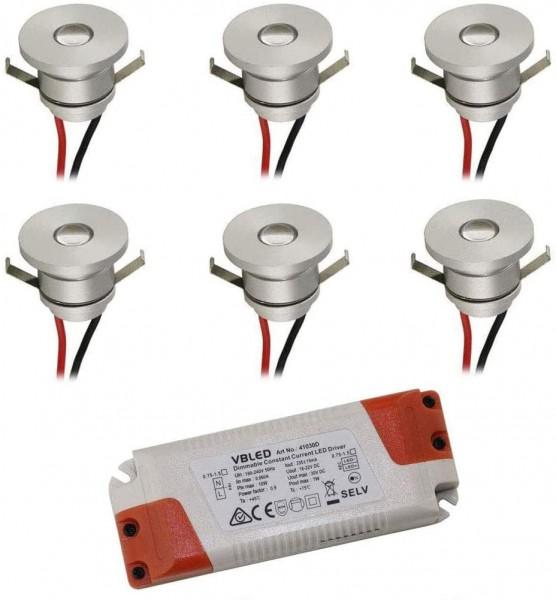 LED Alu Spot Mini Einbaustrahler / IP44 / 1W / 350mA / 80lm / NW (4000 K) (6er-Set NW)
