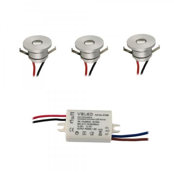 3er-Set LED Alu Mini Spot Einbaustrahler / IP44 / 1W / 350mA 4000K
