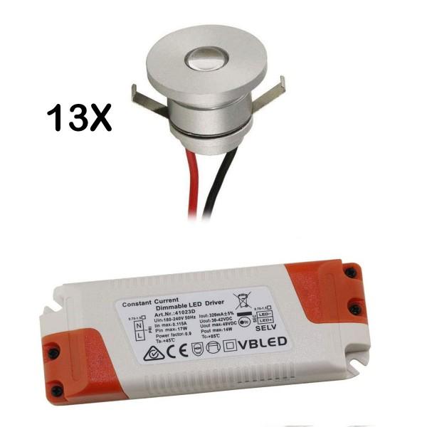 13er-Set 1W LED Aluminium Mini Einbaustrahler warmweiß mit dimmbaren Netzteil